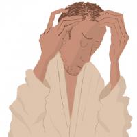 頭髪を気にする男性のイラスト